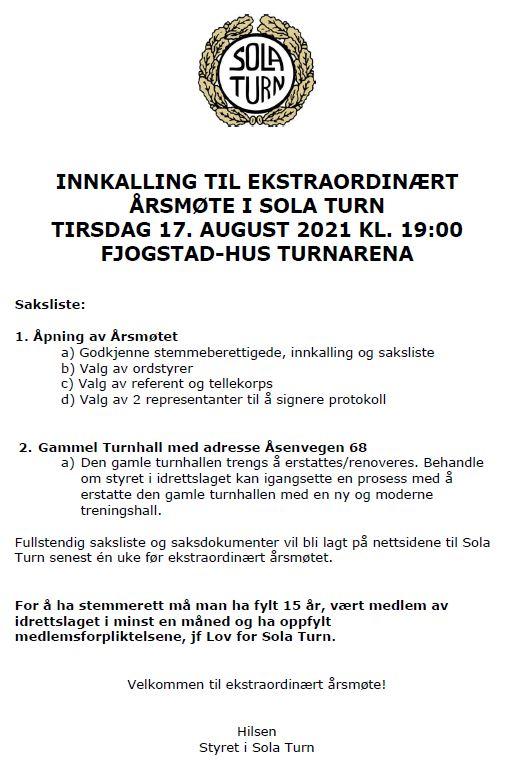 INNKALLING TIL EKSTRAORDINÆRT ÅRSMØTE